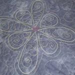 reich gequilteter Sofaüberwurf Jeansoptik mit Verzierung